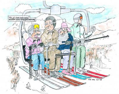 Skiers on lift cartoon